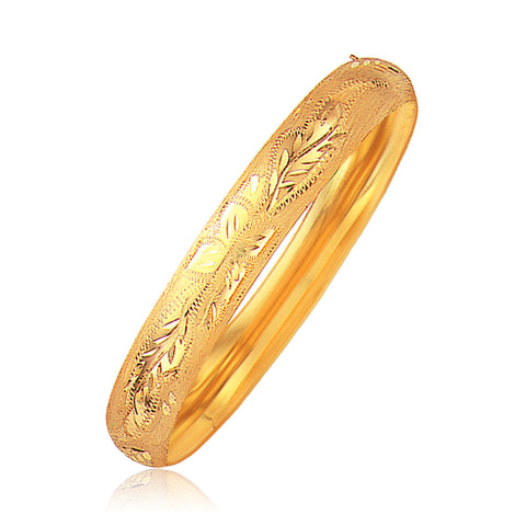 Unique Luxury French Style Classic Floral Carved Bangle in 14K Yellow Gold (10.0mm)
