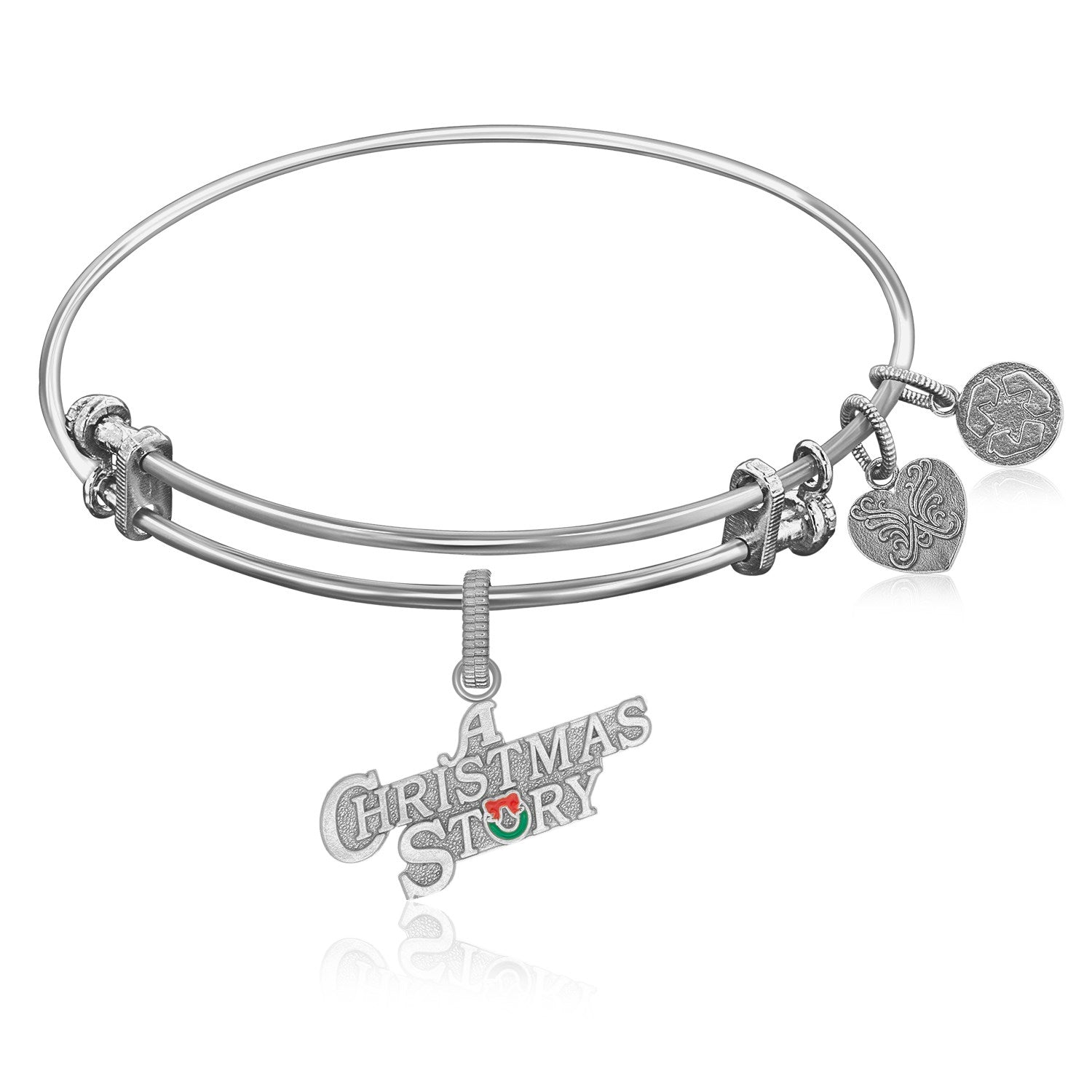 Expandable Bangle in White Tone Brass with A Christmas Story Symbol