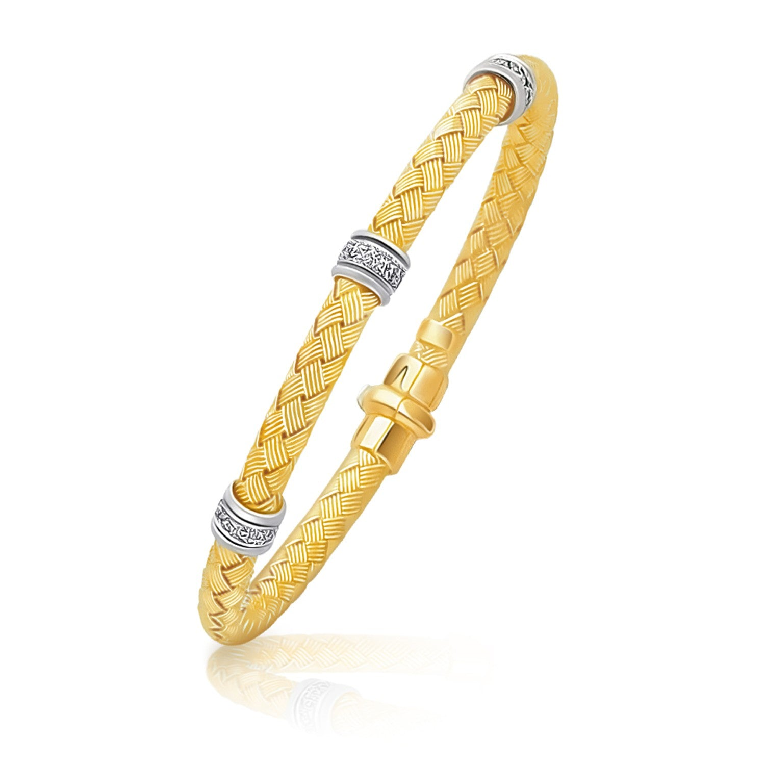 14K Two-Tone Gold Rondelle Diamond Station Basket Weave Bracelet
