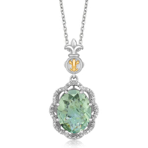 Distinctive Luxury London Style 18K Yellow Gold and Sterling Silver Green Amethyst Drop Pendant (.03 ct. tw.)