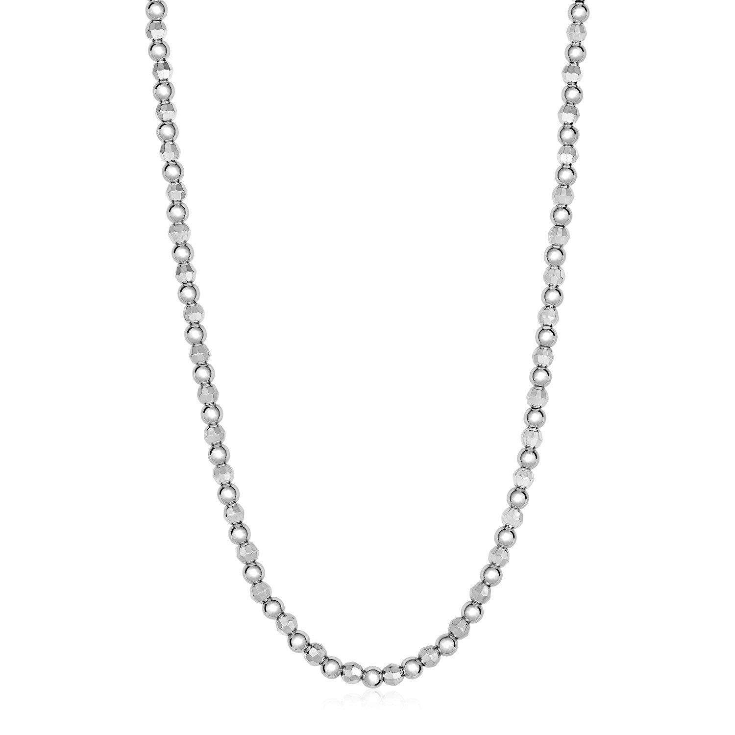 Polished and Textured Round Bead Necklace in Sterling Silver
