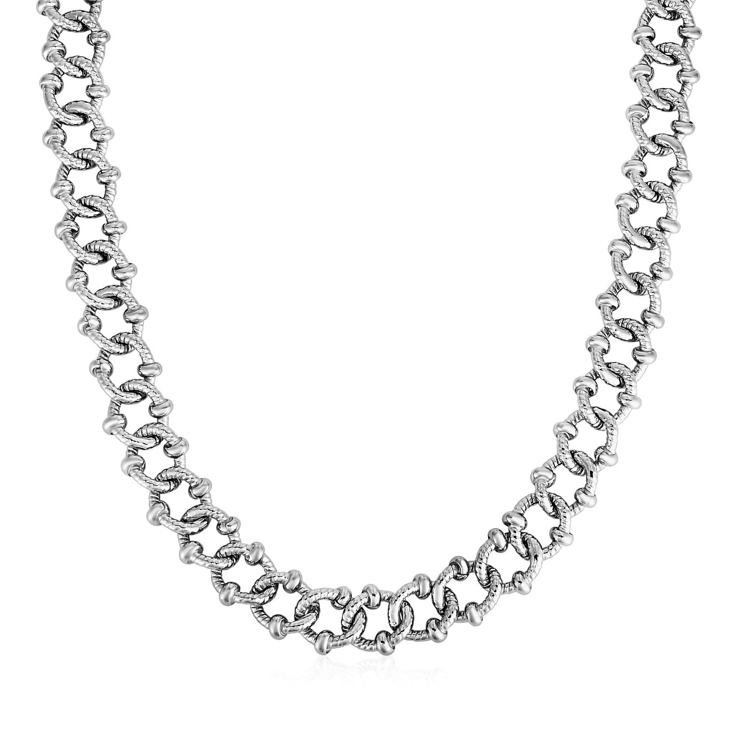 Unique Hollywood Style Textured Embellished Link Necklace in Sterling Silver