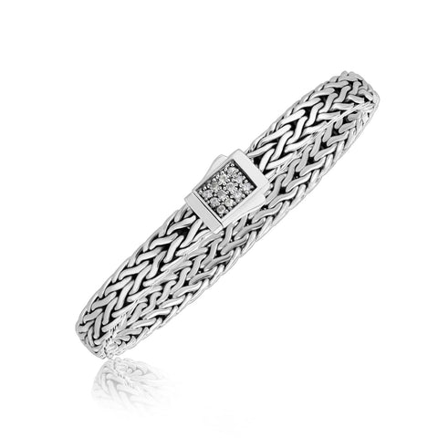 Unique Modern Monaco Style Sterling Silver Braided Men's Bracelet with a White Sapphire Accented Clasp