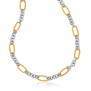 Unique Hollywood Style 14K Two-Tone Gold Long Cable Inspired and Round Link Necklace