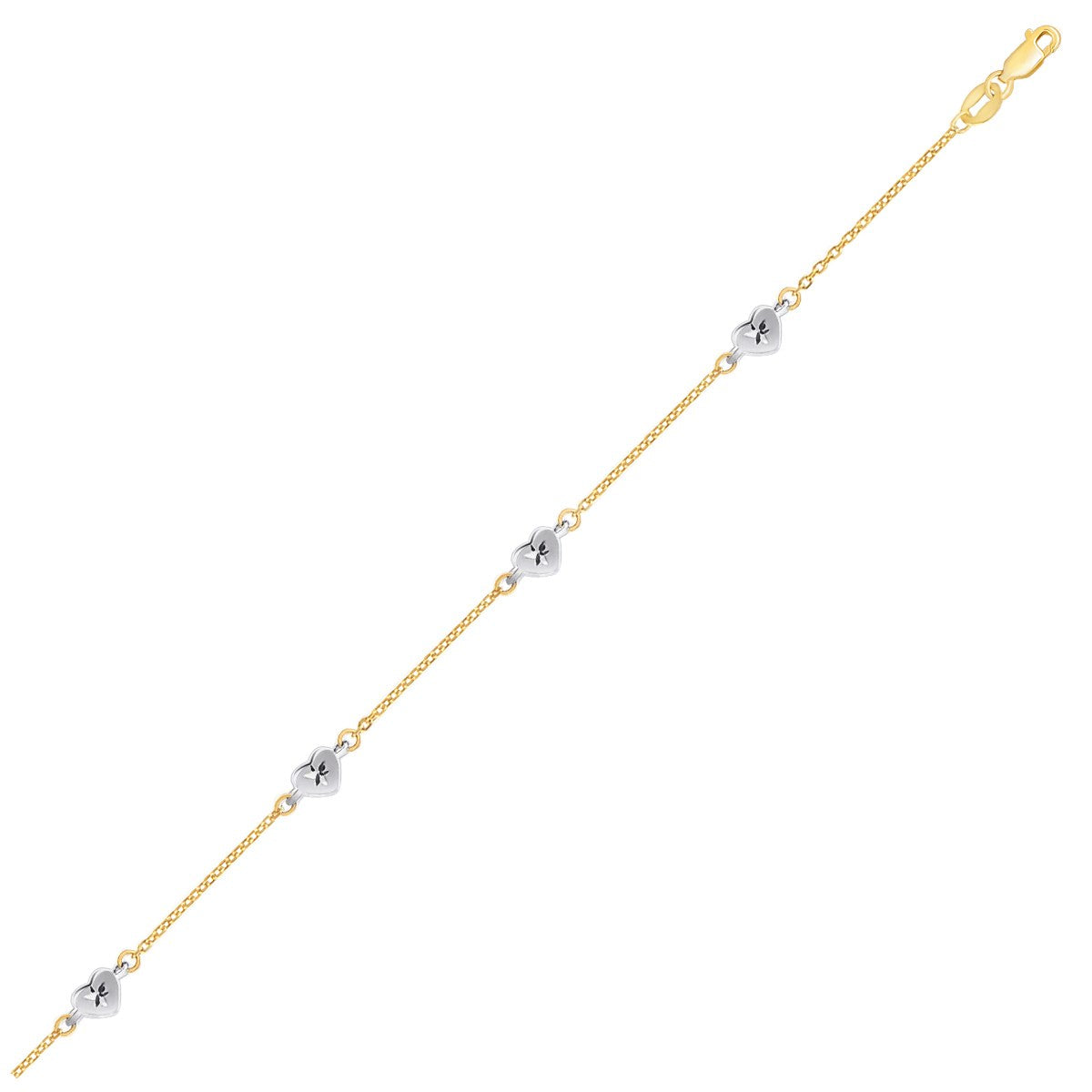 14K Two Tone Gold Anklet with Diamond Cut Heart Style Stations - Uniquepedia.com