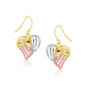 Tri-Color Heart Drop Earrings in 10K Gold