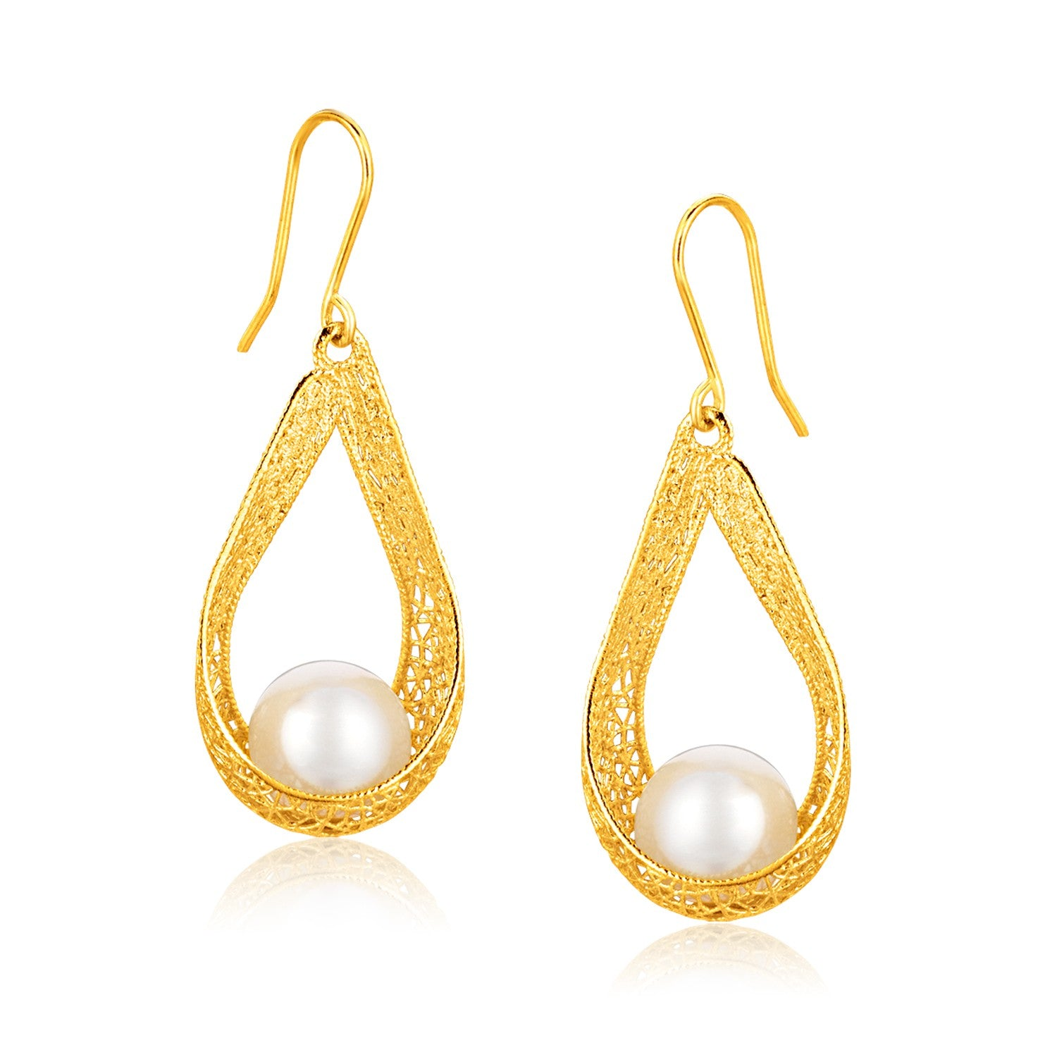 Italian Design 14K Yellow Gold Pearl Crochet Teardrop Ribbon Earrings