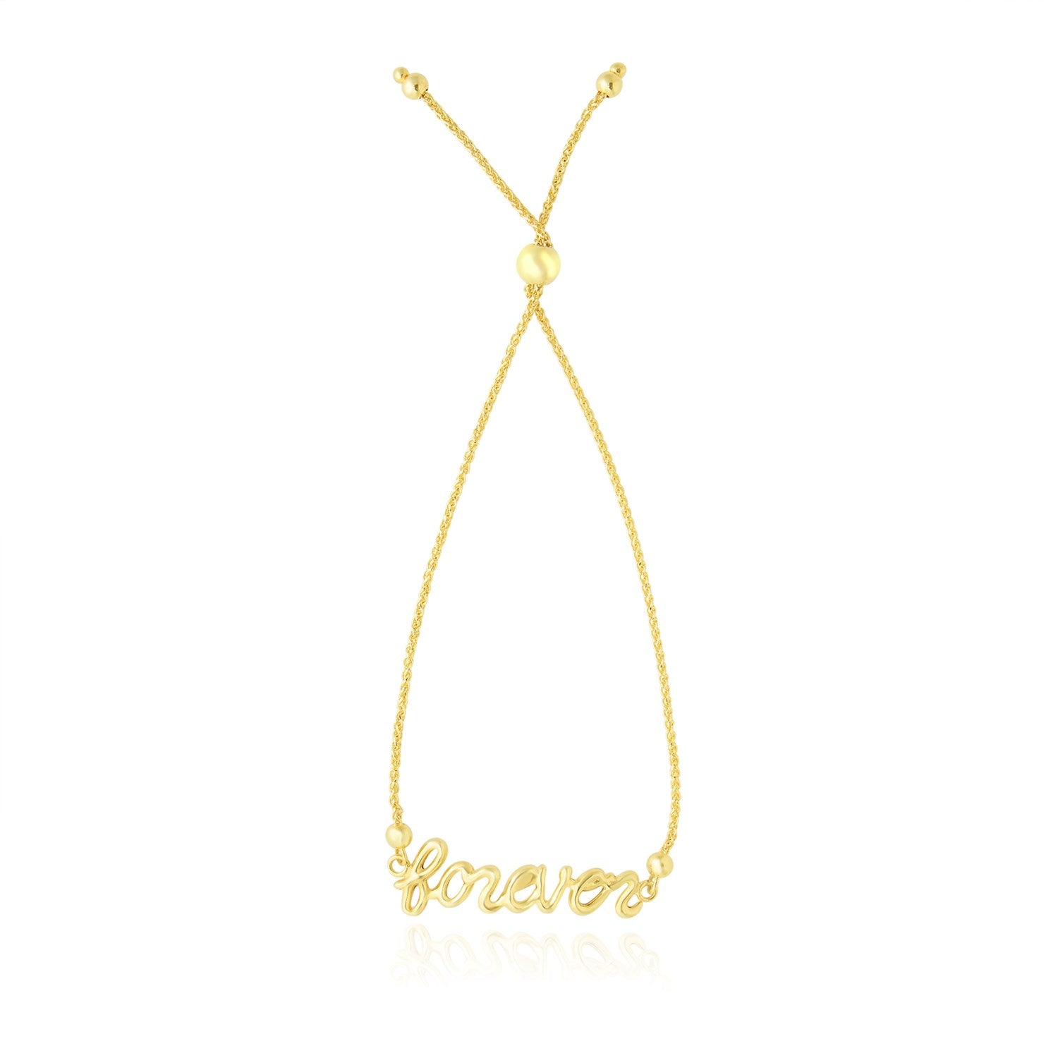 14K Yellow Gold FOREVER Ajustable Lariat Design Bracelet