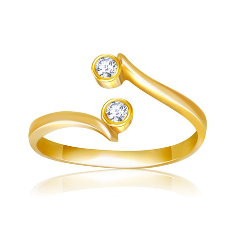14K Yellow Gold Cubic Zirconia Accented Curve Ended Toe Ring - Uniquepedia.com