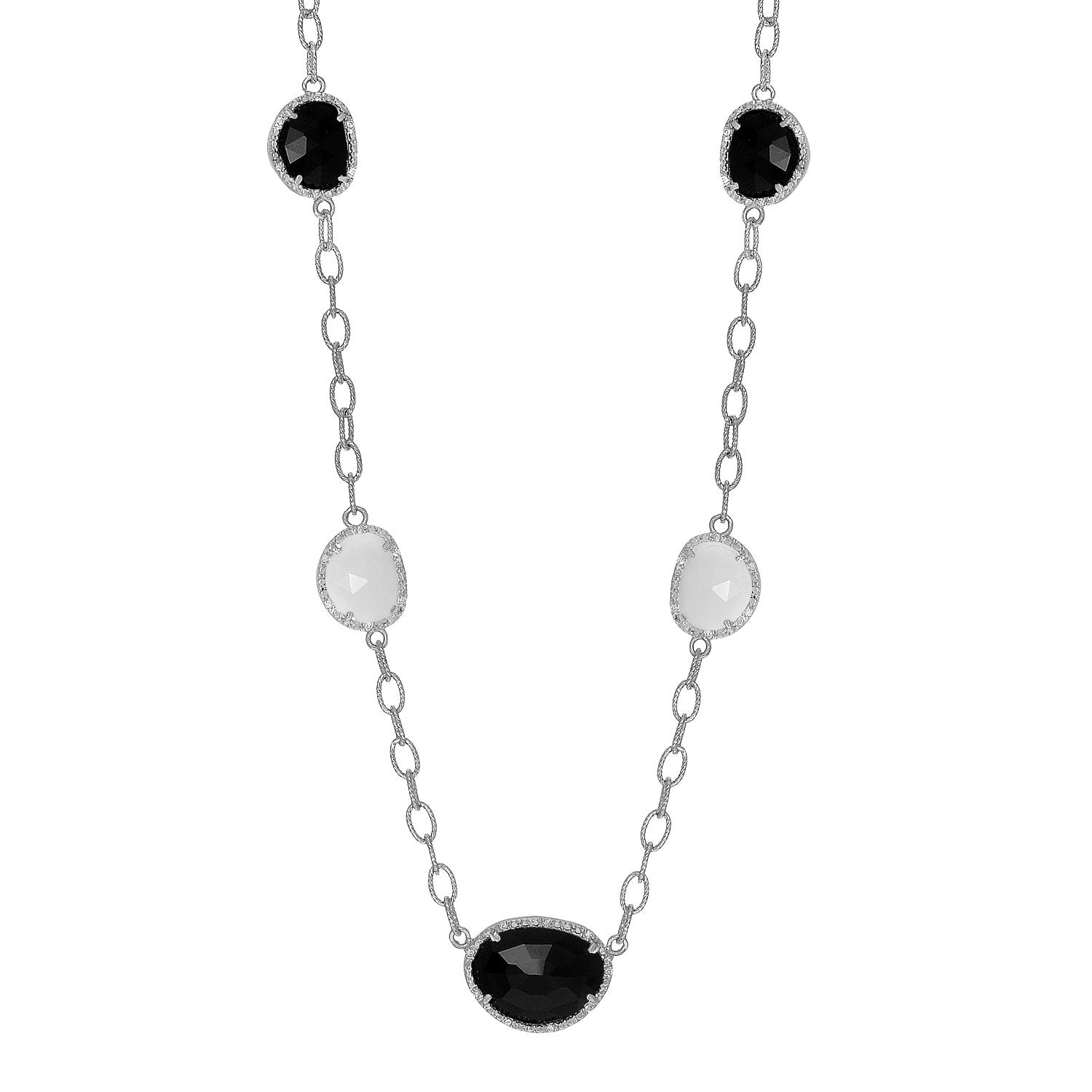 Unique Hollywood Style Sterling Silver Diamond Embellished Black and White Agate Necklace