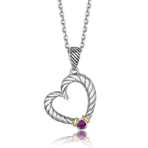 Distinctive Luxury London Style 18K Yellow Gold and Sterling Silver Heart Drop Pendant with Amethyst Ornament