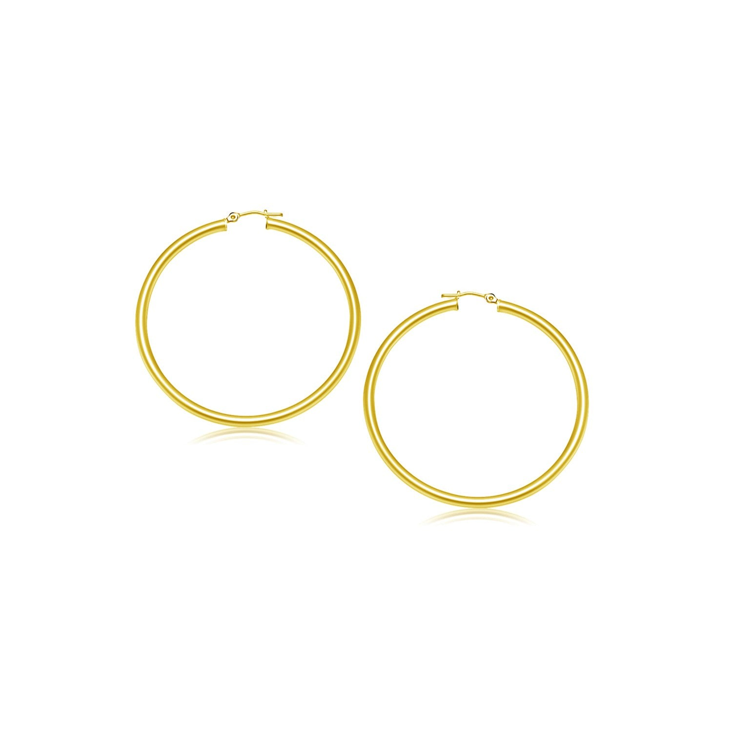 Unique Hollywood Style 14K Yellow Gold Polished Hoop Earrings (2- mm)