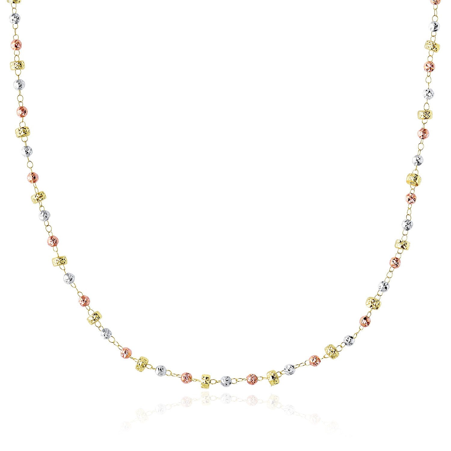 14K Tri-Color Gold Necklace with Textured Round and Barrel Bead Links