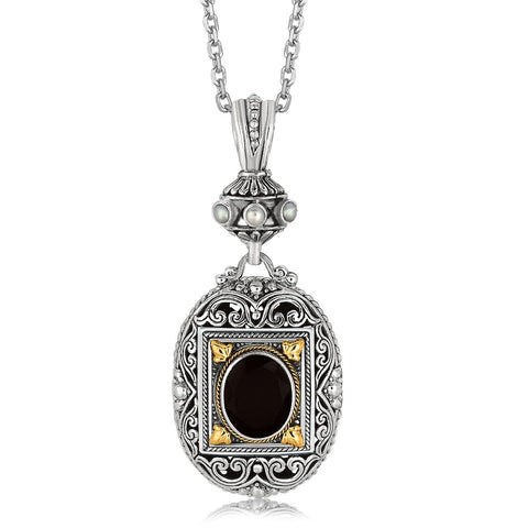 Distinctive Luxury London Style 18K Yellow Gold and Sterling Silver Ornate Pendant with Black Onyx Centerpiece