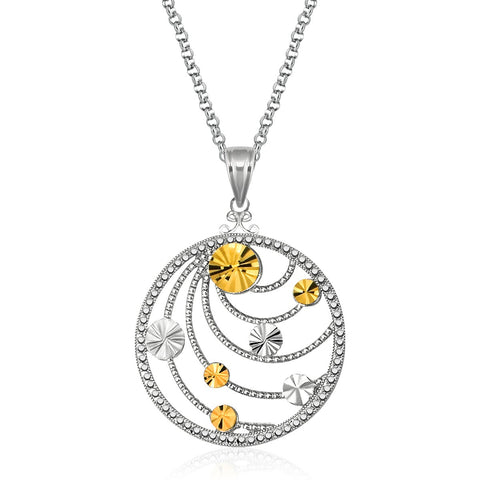 Distinctive Luxury London Style Designer Sterling Silver and 14K Yellow Gold Swirl Medallion Pendant