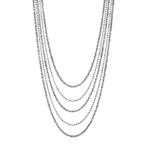 Unique Hollywood Style Graduated Multi Strand Chain Necklace in Sterling Silver