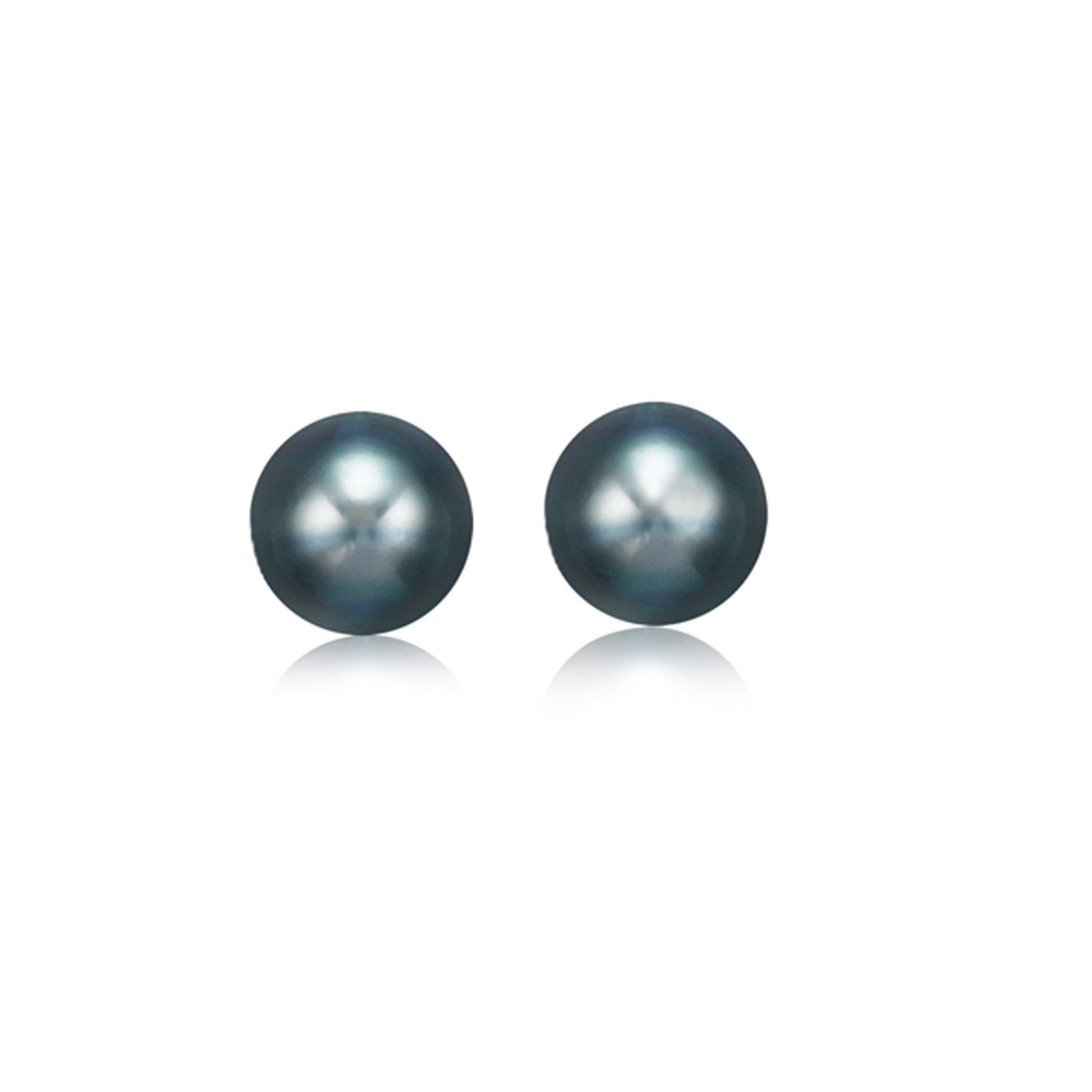 14K Yellow Gold Cultured Black Pearl Stud Earrings (6.0 mm)
