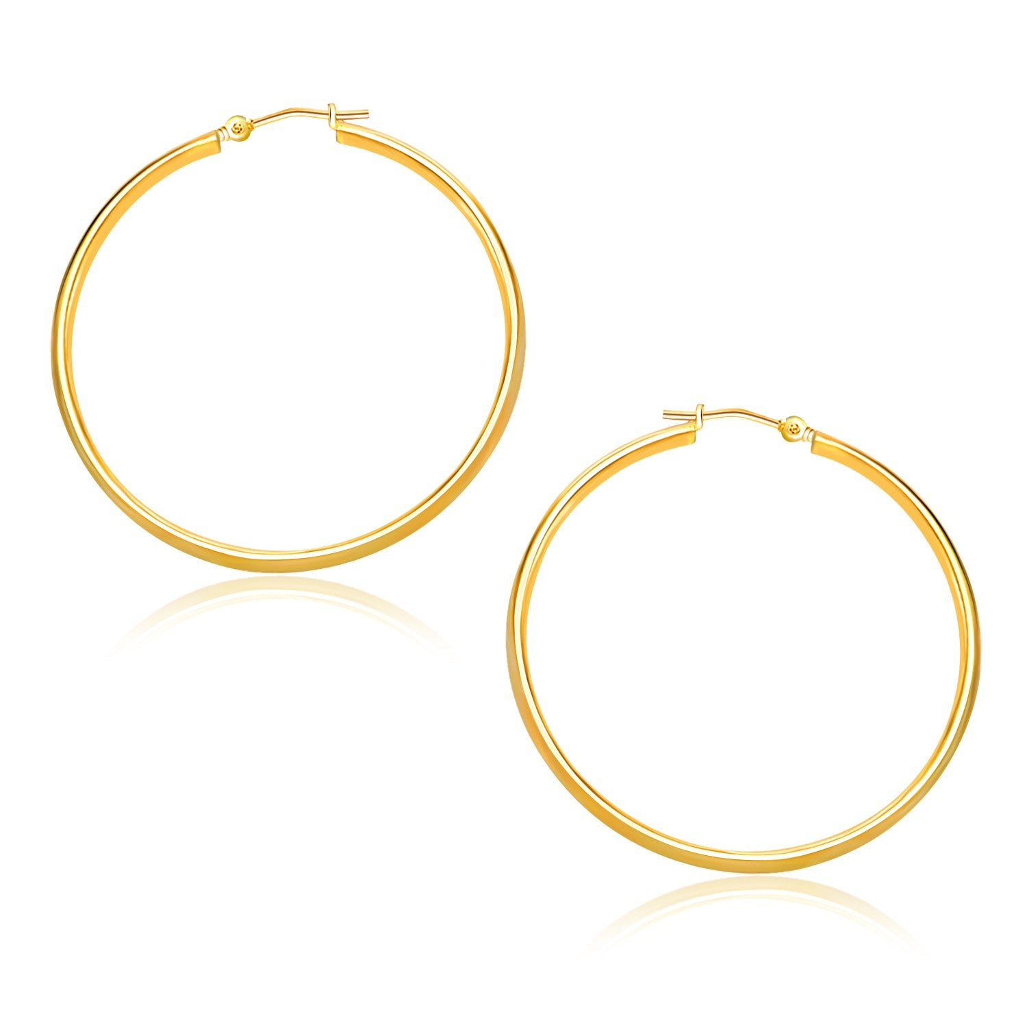 14K Yellow Gold Polished Hoop Earrings (30mm)