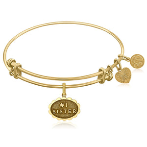 Expandable Yellow Tone Brass Bangle with #1 Sister Symbol