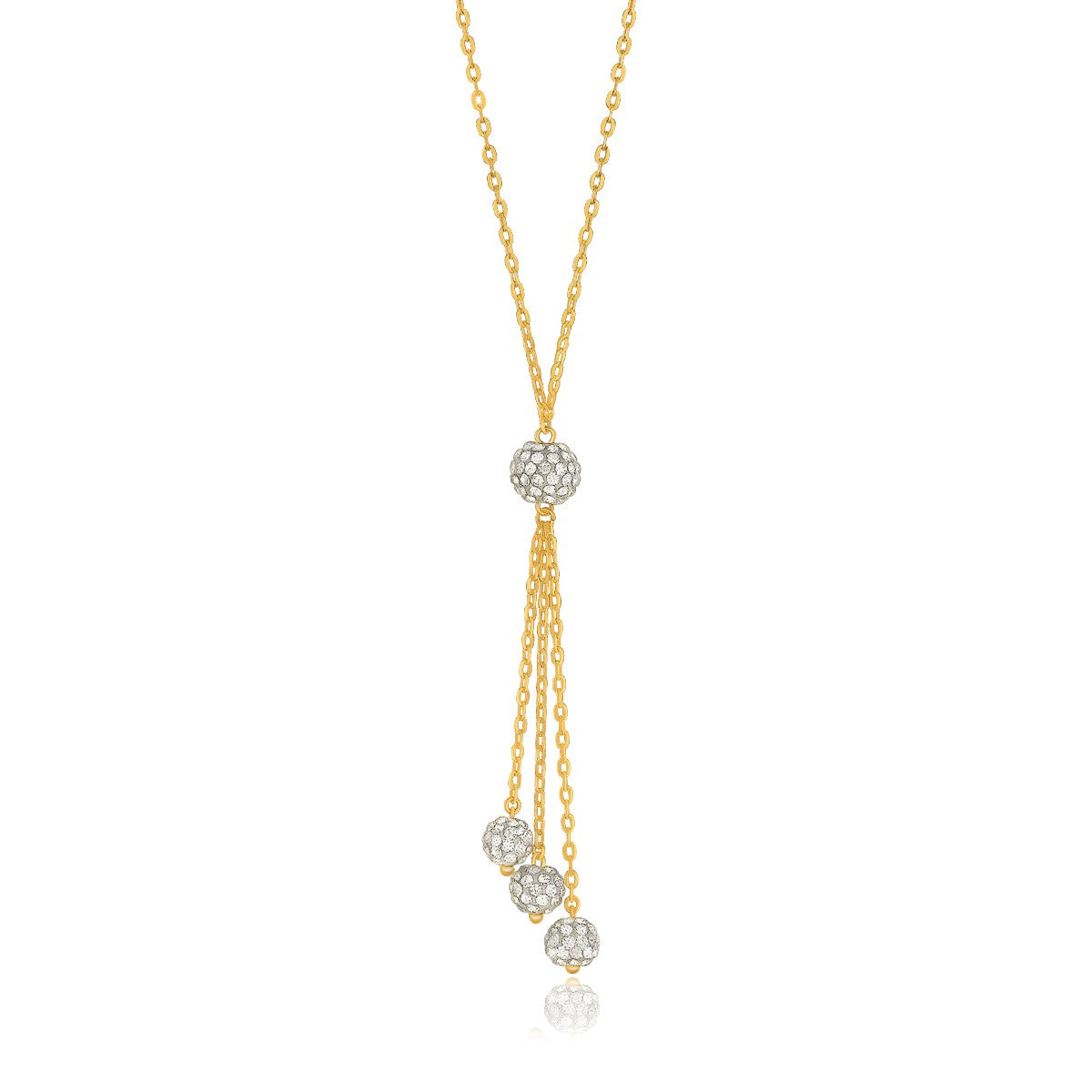 Unique Hollywood Style 14K Yellow Gold 17'' Necklace with Triple Ball Drop Pendant