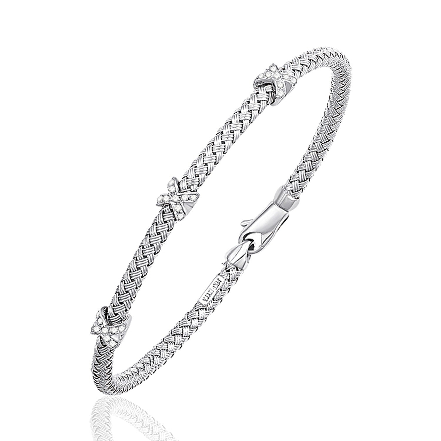 Basket Weave Bangle with Cross Diamond Accents in 14K White Gold (4.0mm)