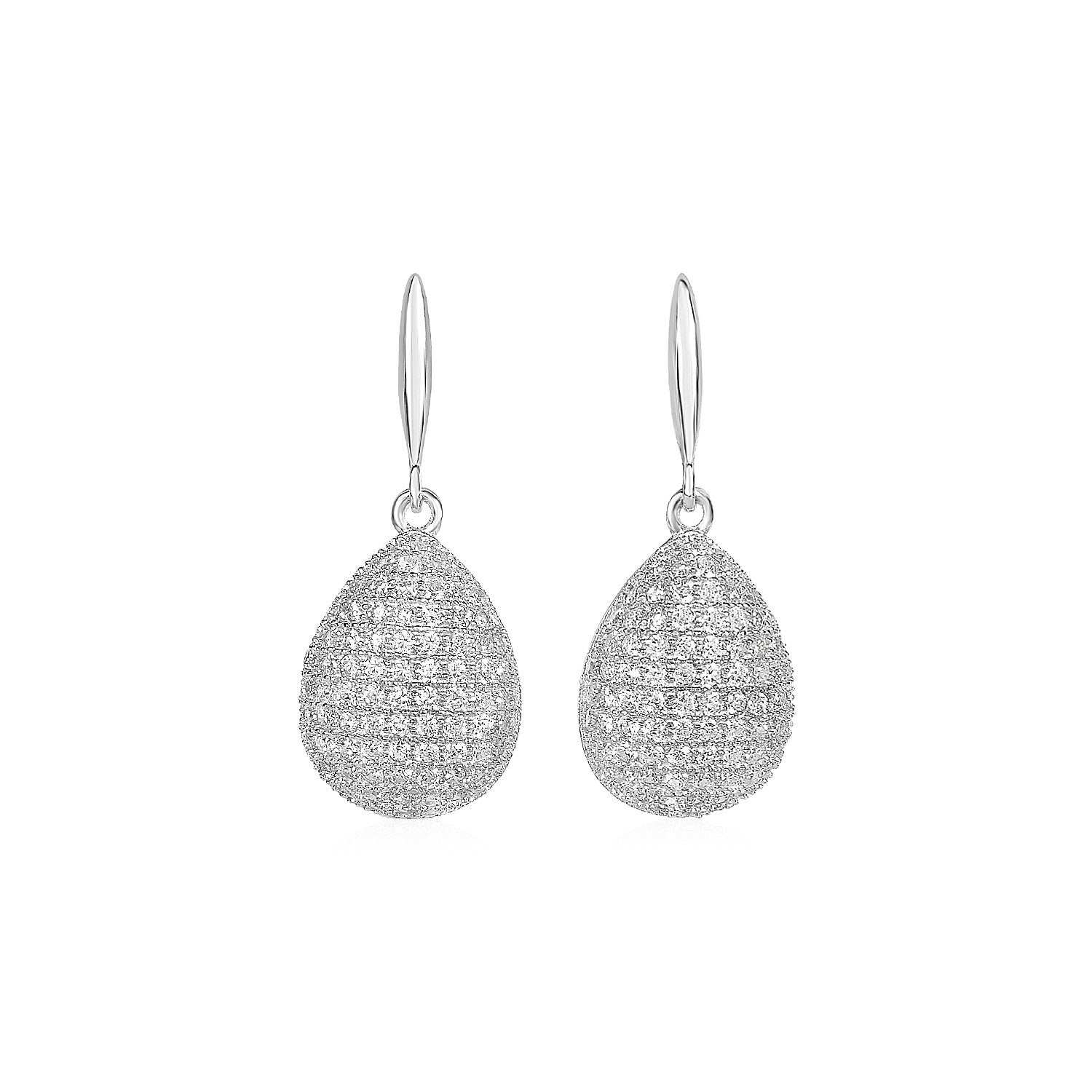 Original New York Style  Puffed Teardrop Earrings with Cubic Zirconia in Sterling Silver
