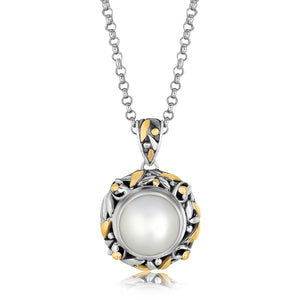 Distinctive Luxury London Style 18K Yellow Gold and Sterling Silver Pearl Embellished Leaf Inspired Pendant