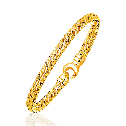 Unique Luxury French Style Fancy Weave Bangle in 14K Yellow Gold (5.0mm)