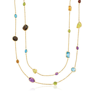 Unique Hollywood Style 14K Yellow Gold Double Layer Multi Gem Necklace