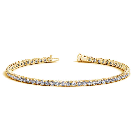 Unique Modern Monaco Style 14K Yellow Gold Round Diamond Tennis Bracelet (3 ct. tw.)