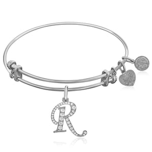 Expandable White Tone Brass Bangle with R Symbol with Cubic Zirconia