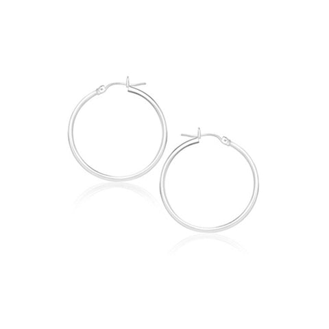 14K White Gold Polished Hoop Earrings (20 mm)