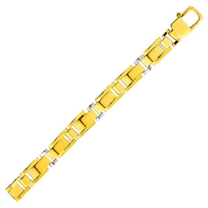 Luxury Italian Style Mens Rectangular Link Bracelet in 14K Two Tone Gold