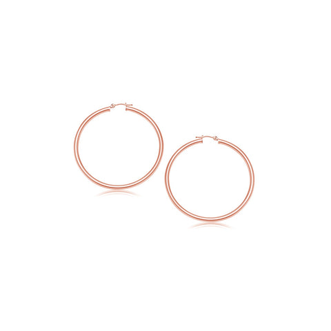 14K Rose Gold Polished Hoop Earrings (15 mm)