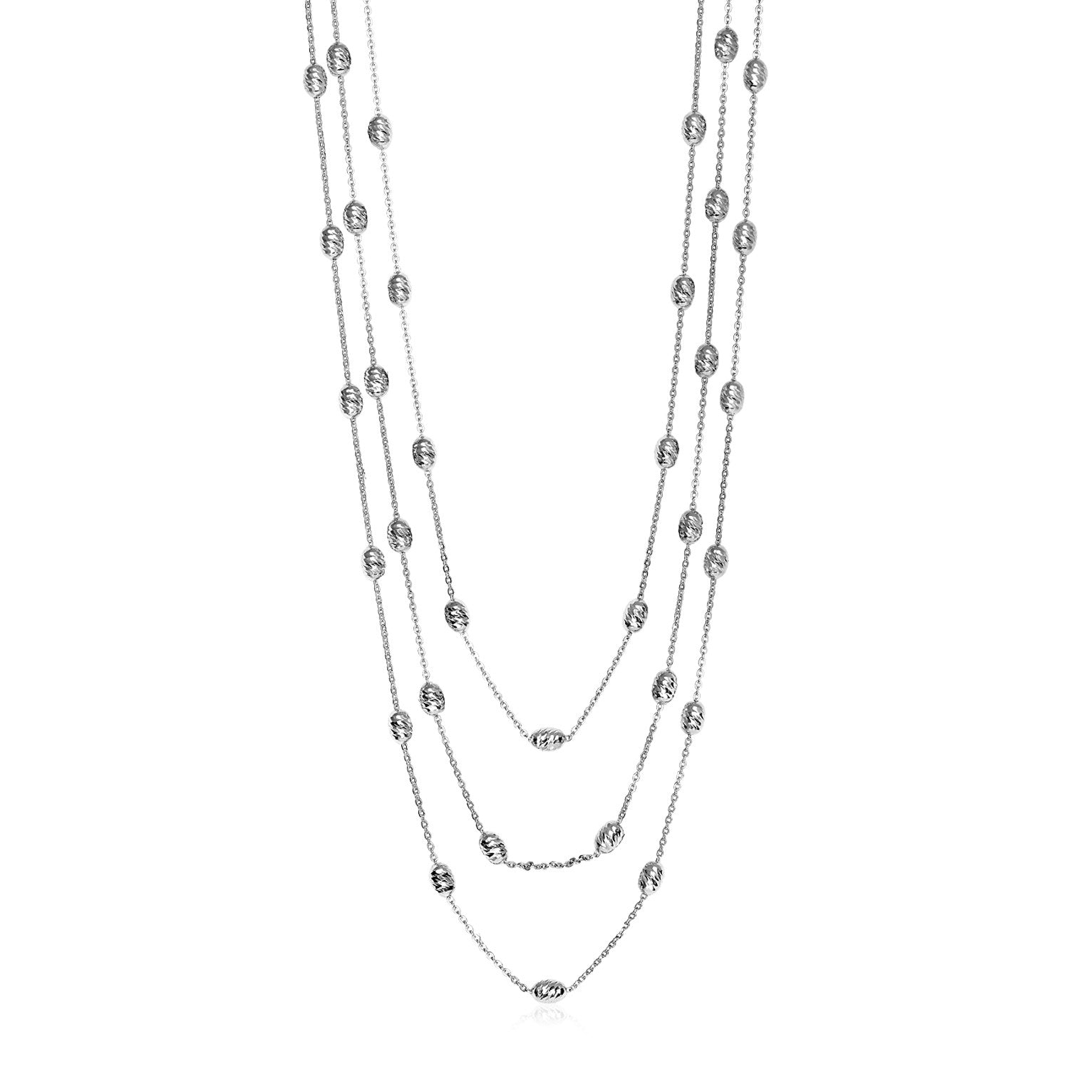 Three Strand Graduated Station Necklace in Sterling Silver