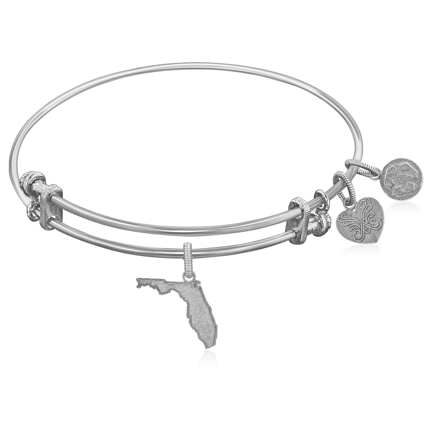 Expandable White Tone Brass Bangle with Florida Symbol