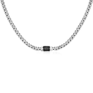 Unique Hollywood Style Sterling Silver Black Sapphire Embellished Weave Necklace