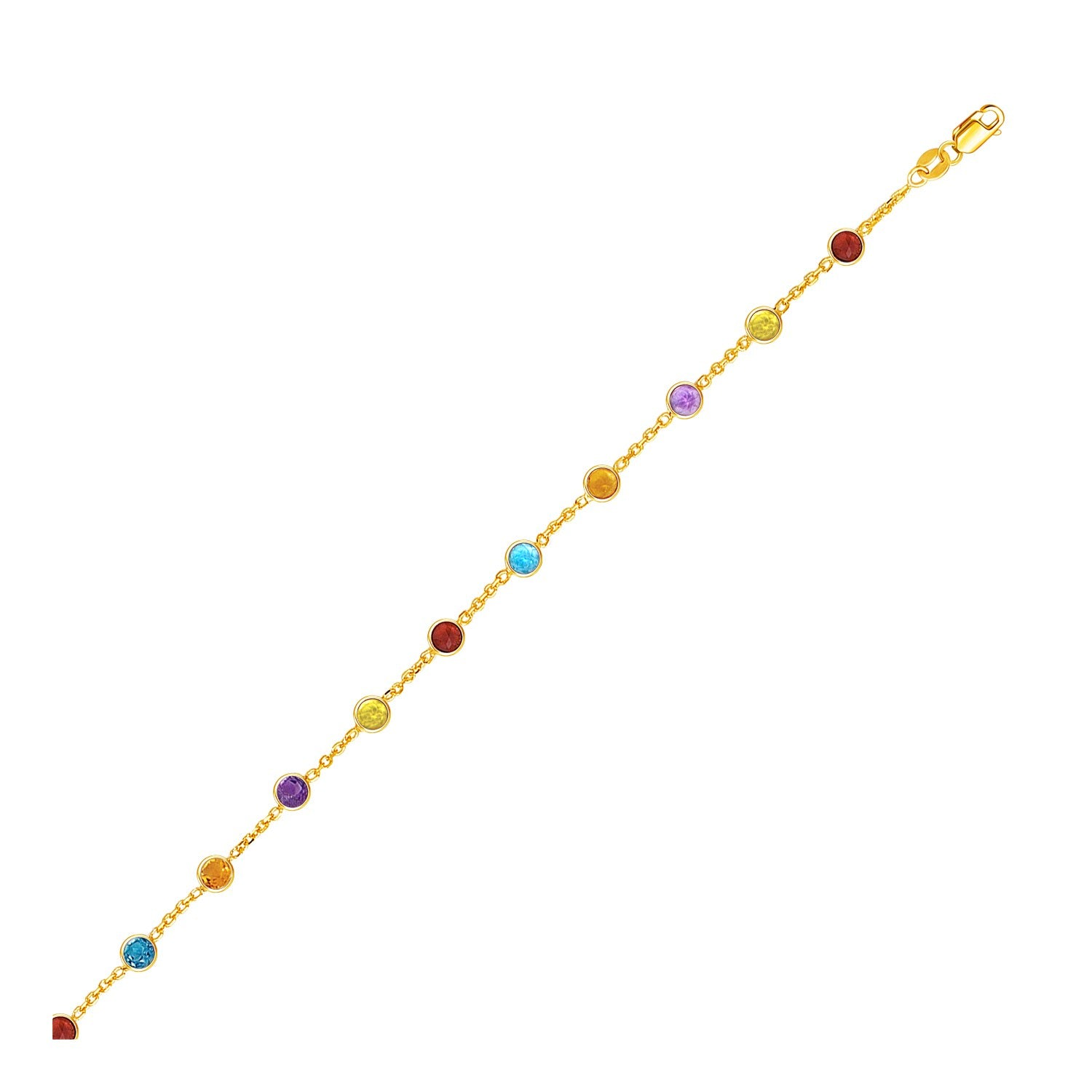14K Yellow Gold Cable Anklet with Round Multi Tone Stations - Uniquepedia.com