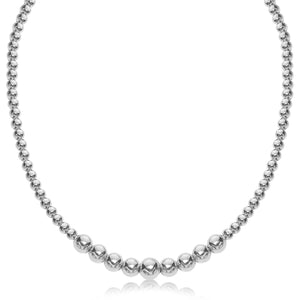 Sterling Silver Rhodium Plated Graduated Motif Polished Bead Necklace