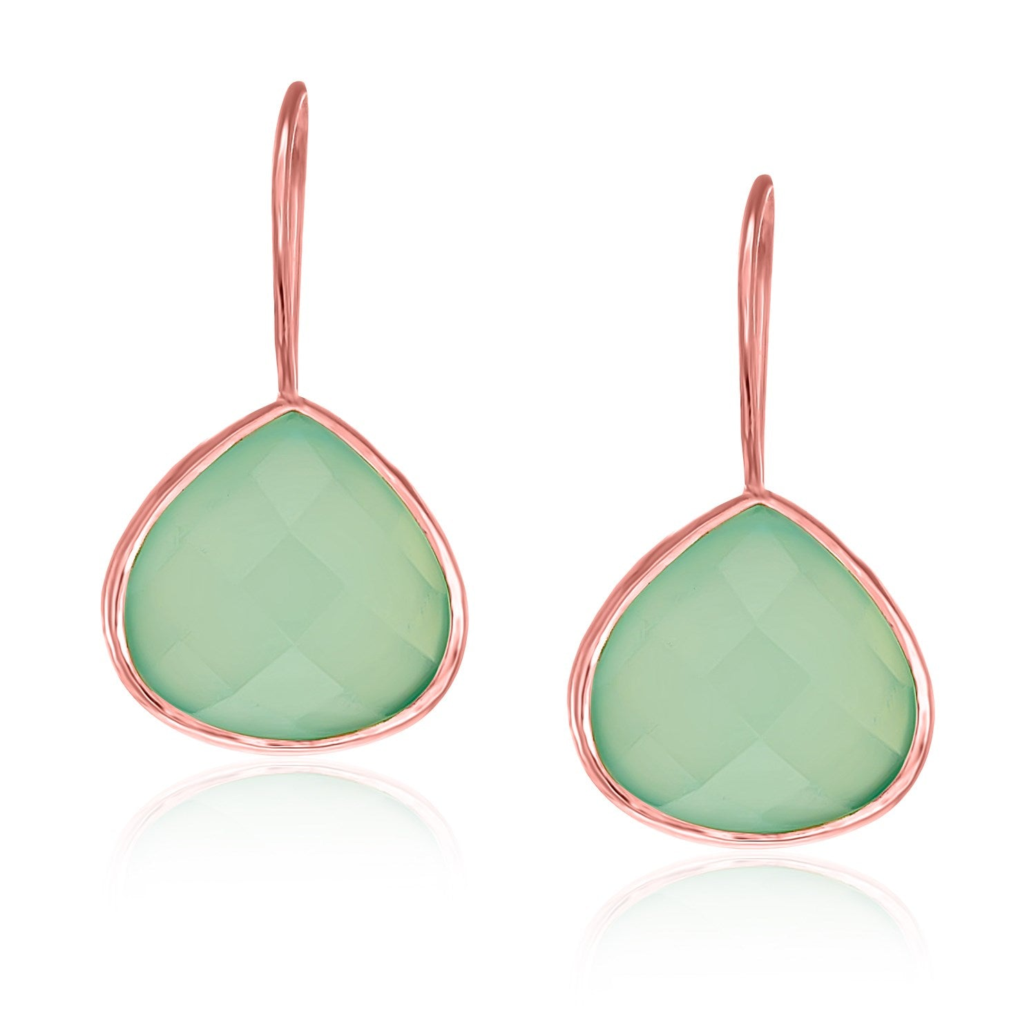 Sterling Silver Rose Gold Plated Teardrop Faceted Aqua Chalcedony Earrings