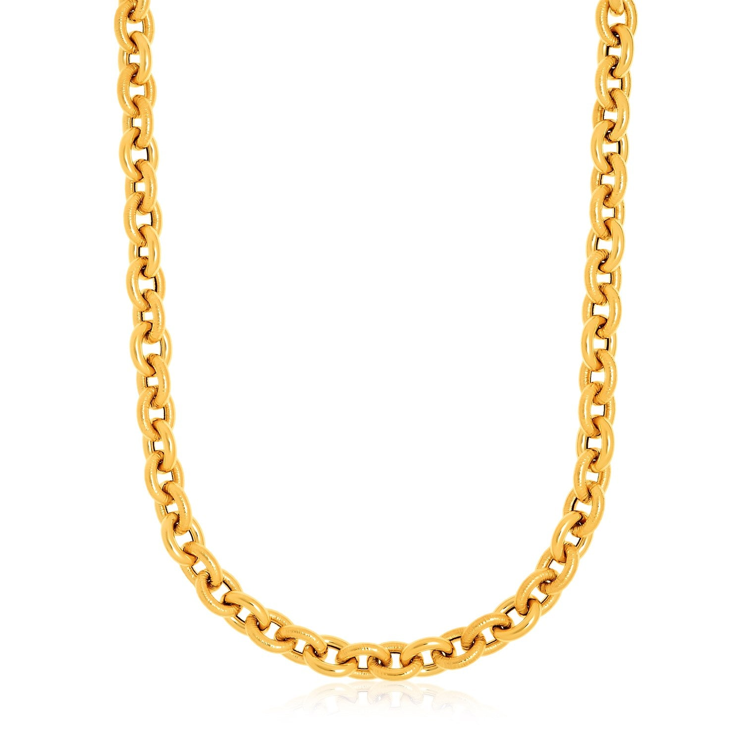 14K Yellow Gold Cable Chain with Texture Necklace