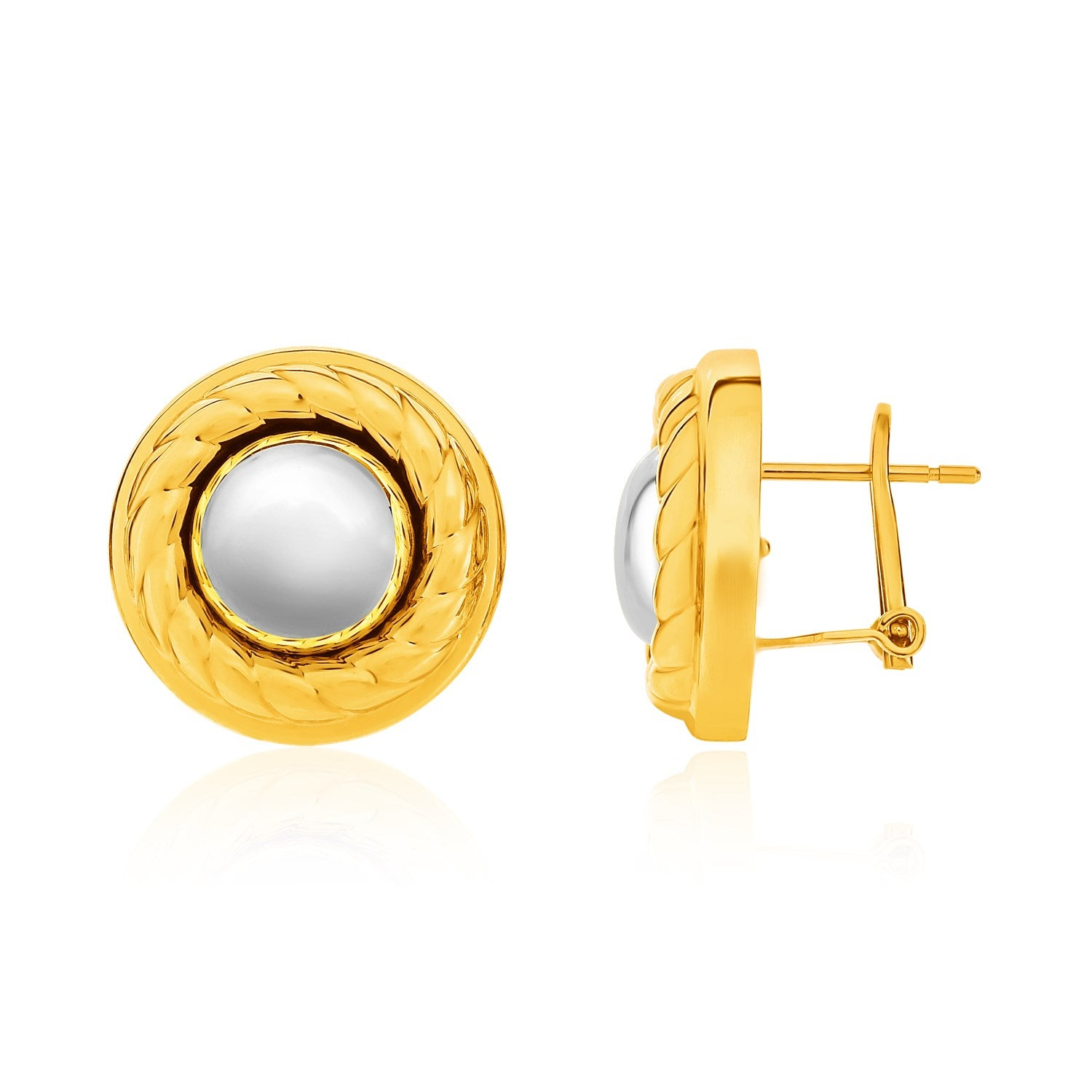 Original New York Style  14K Two-Tone Yellow and White Gold Ball and Rope Texture Post Earrings