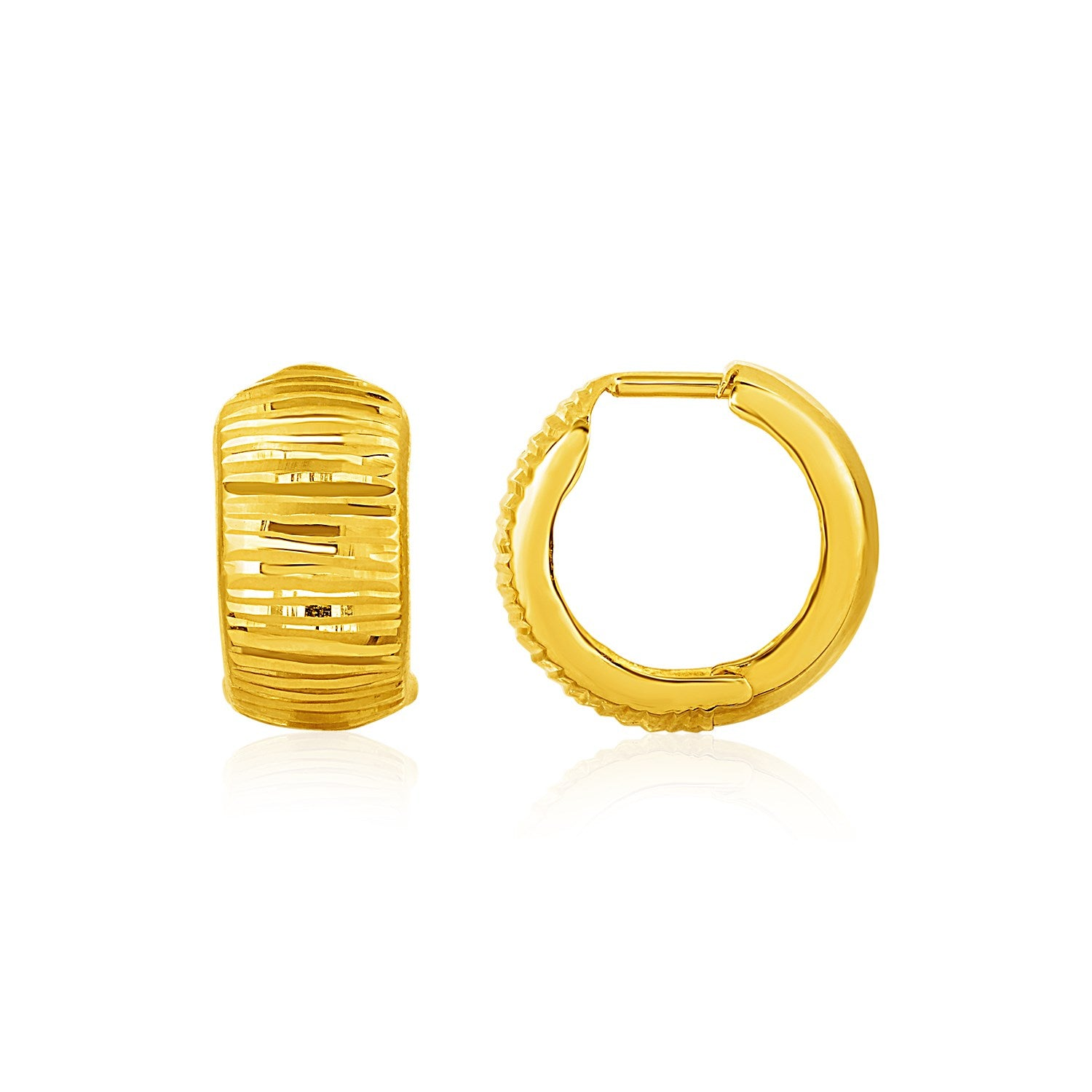 Original New York Style  Reversible Textured and Smooth Snuggable Earrings in 10K Yellow Gold
