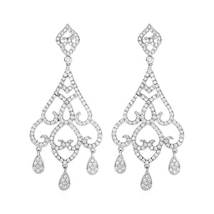 Teardrop Chandelier Earrings with Cubic Zirconia in Sterling Silver