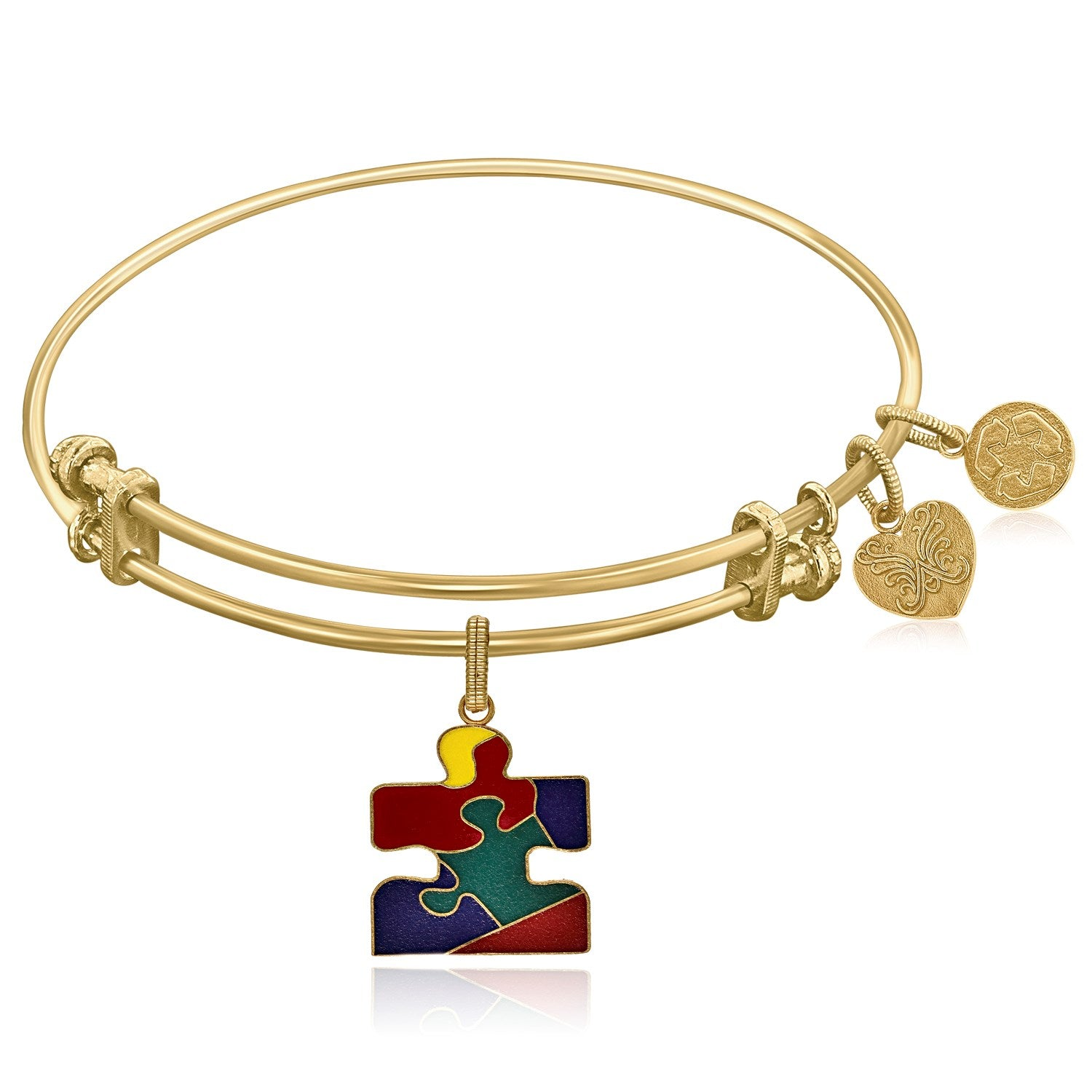 Expandable Yellow Tone Brass Bangle with Autism Awareness Enamel Symbol