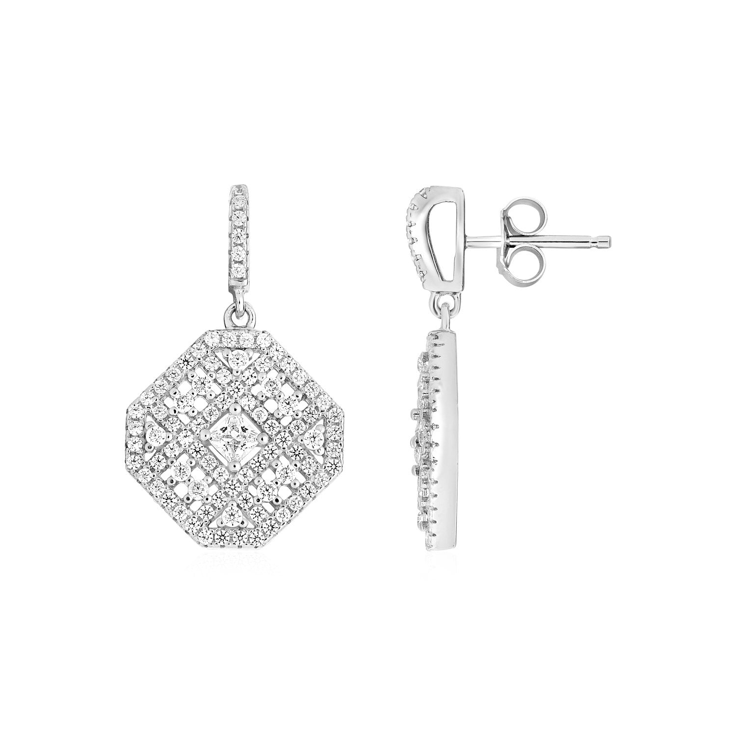 Square Motif Earrings with Cubic Zirconia in Sterling Silver