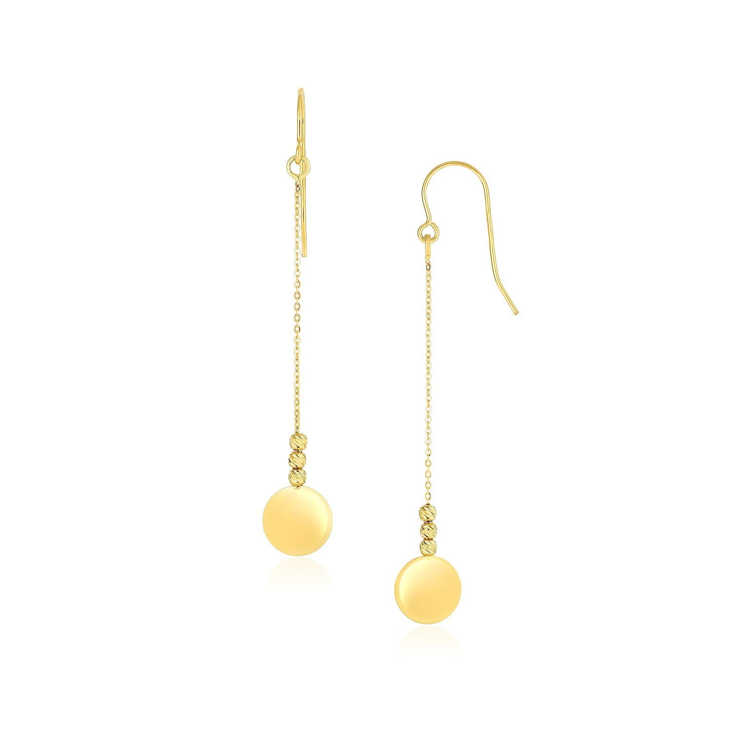 10K Yellow Gold Bead and Shiny Disc Drop Earrings