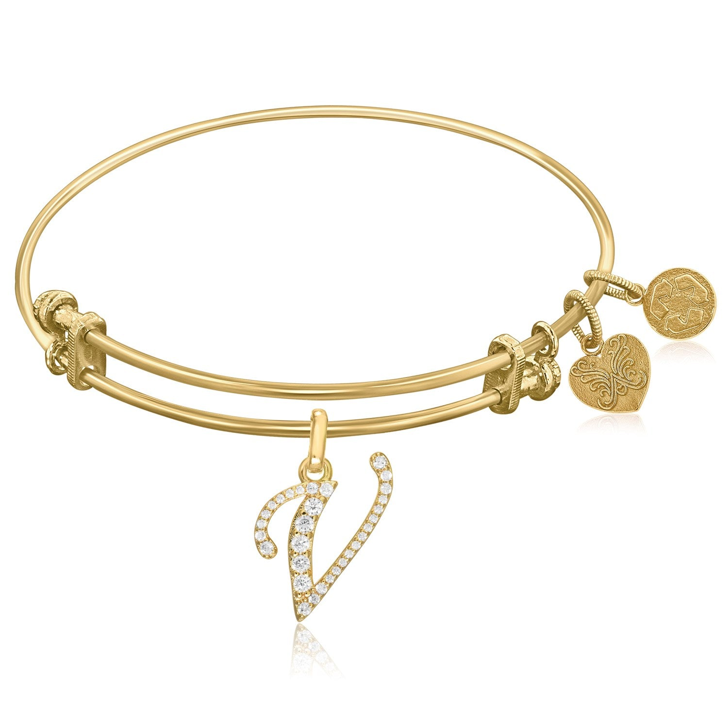 Expandable Yellow Tone Brass Bangle with V Symbol with Cubic Zirconia