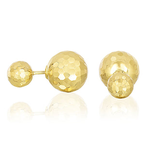 14K Yellow Gold Double Sided Earrings with Faceted Bead Design