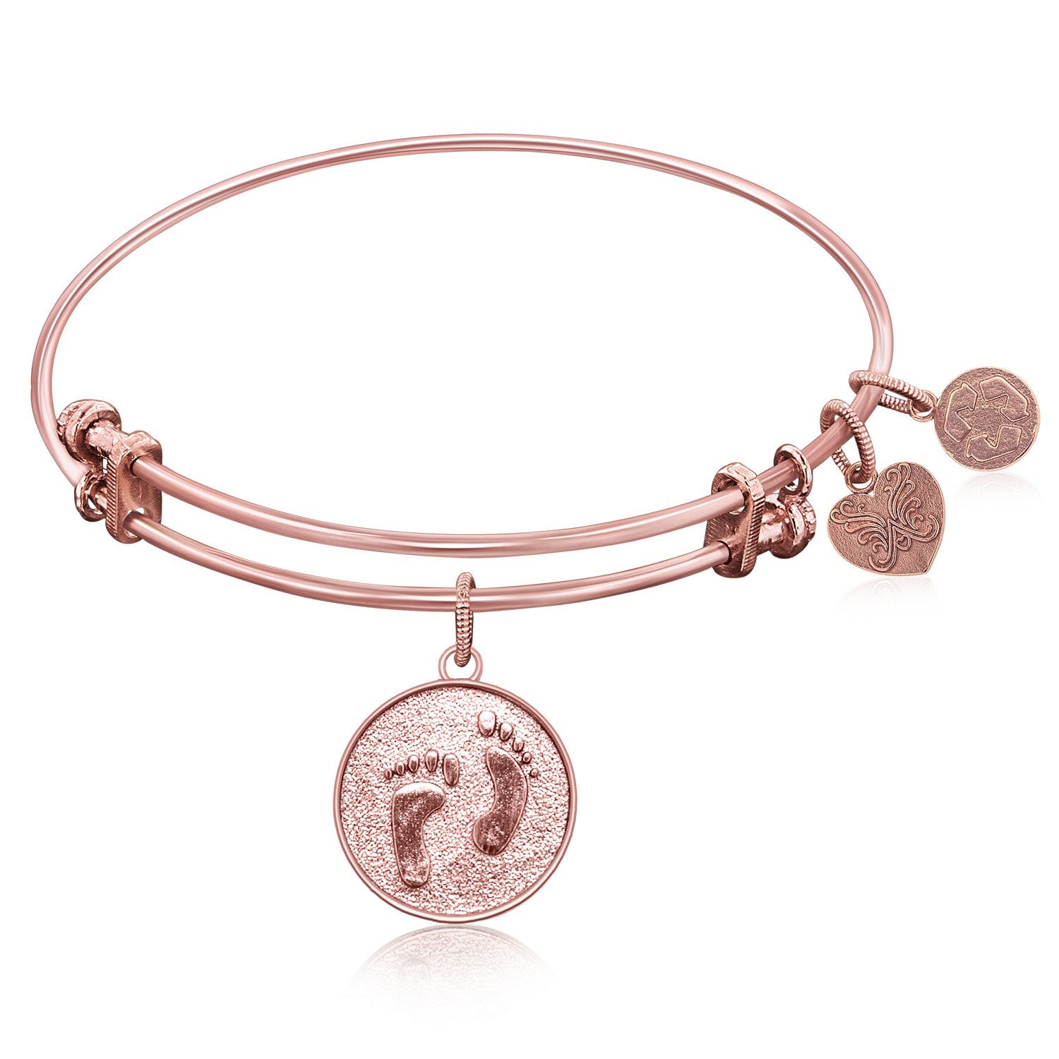 Expandable Bangle in Pink Tone Brass with Barefoot In The Sand Symbol